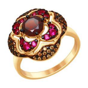 Кольцо из золочёного серебра с гранатом и жёлтыми и красными фианитами 92011431 SOKOLOV