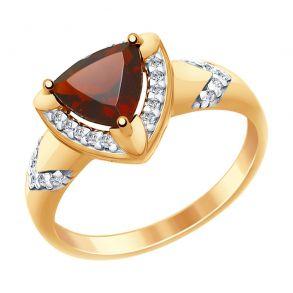 Кольцо из золочёного серебра с гранатом и фианитами 92011456 SOKOLOV
