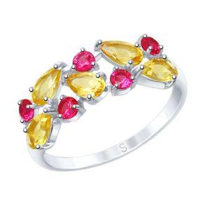 Кольцо из серебра с цитринами и фианитами 92011601 SOKOLOV