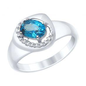 Кольцо из серебра с синим топазом и фианитами 92011649 SOKOLOV