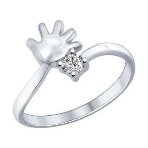 Кольцо из серебра с фианитом 94012177 SOKOLOV