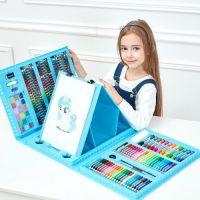 Набор для рисования со складным мольбертом в чемоданчике, 176 Предметов, Цвет: Голубой