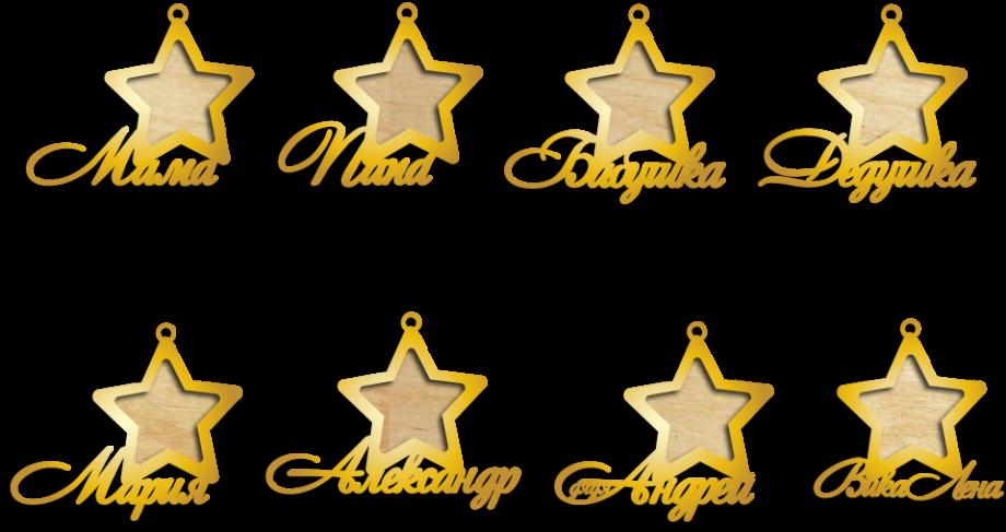 Новогодняя игрушка фоторамка звезда золотая с именем