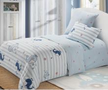 Постельное белье Сатин Little Dolphins 1.5-спальный Арт.1601