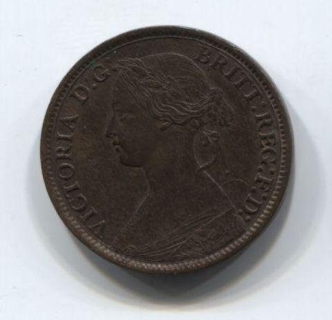 1 фартинг 1872 года Великобритания AUNC