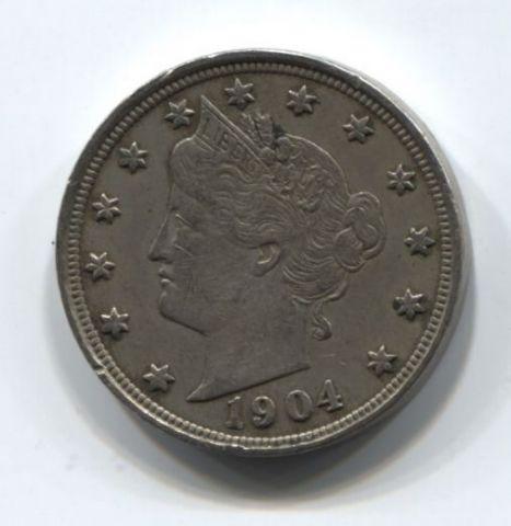 5 центов 1904 года США XF