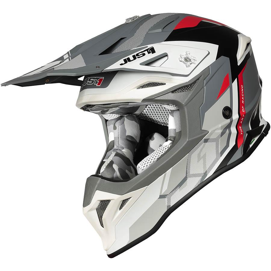 Just1 - J39 Reactor White/Red/Grey Matt шлем, бело-красно-серый матовый