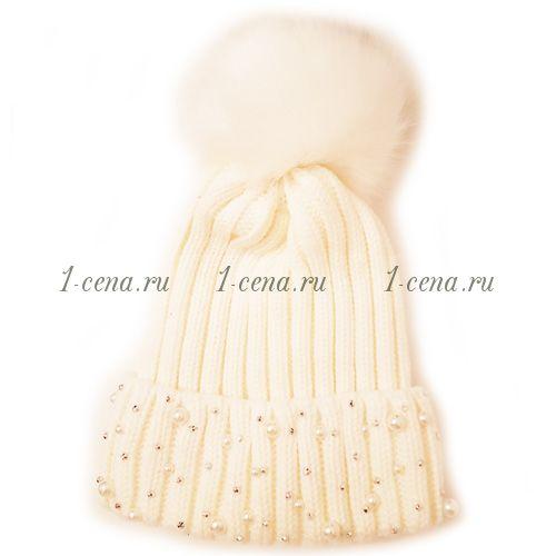 Женская шапка на меху с помпоном КАМНИ