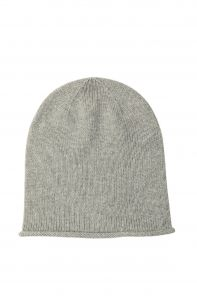 """Кашемировая мягкая классическая тонкая шапка-бини """"Джерси"""",  цвет Пепельный. SILVER Jersey Hat Driftwood"""