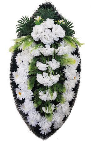 Фото Ритуальный венок из искусственных цветов - Классика #07 белый с хризантемами и розами