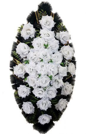 Фото Ритуальный венок из искусственных цветов - Классика #23 из белых роз и зелени