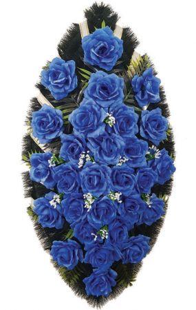 Фото Ритуальный венок из искусственных цветов - Классика #24 из синих роз и зелени