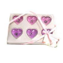 Подарочный набор гелевых свечей Сердца, 6 шт, Цвет: Розовый/Сиреневый