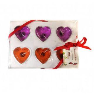 Подарочный набор гелевых свечей Сердца, 6 шт, Цвет: Розовый/Оранжевый