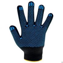 Перчатки ХБ с ПВХ  43гр. черные