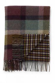 плед шотландский двусторонний, 100 % стопроцентная шотландская овечья шерсть, расцветка Вересковая Клетка и Гринсбон, плотность 10 HEATHER BLOCK CHECK & GINGHAM  LAMBSWOOL THROW