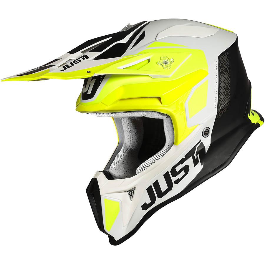 Just1 - J18 Pulsar Flue Yellow / White / Black Matt шлем, желто-бело-черный матовый