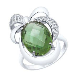 Кольцо из серебра с кварцем и фианитами 92011549 SOKOLOV