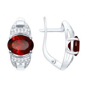 Серьги из серебра с гранатами и фианитами 92021743 SOKOLOV