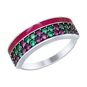 Кольцо из серебра с эмалью и фианитами 94012618 SOKOLOV