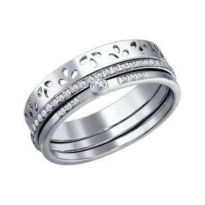 Наборное кольцо с фианитами 94010696 SOKOLOV