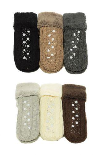 Варежки шерстяные с мехом для женщин МН8103