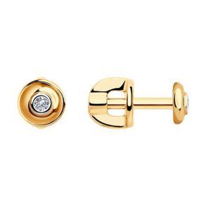Серьги-пусеты из золота с бриллиантами 1021047 SOKOLOV