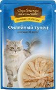 Деревенские лакомства пауч для кошек Филе тунца в желе 70г