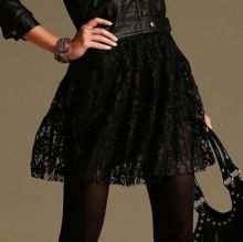 Черная кружевная юбка-солнце юбочка-клеш