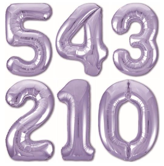 Цифра Сиреневая шар фольгированный с гелием