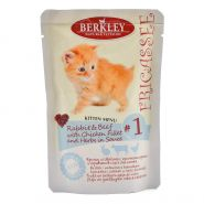 Корм для котят Berkley №1 фрикасе кролик и говядина с кусочками курицы и травами в соусе пауч 85г