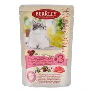 Корм для кошек Berkley №3 фрикасе птица с куриными сердечками и ягодами в желе  100г