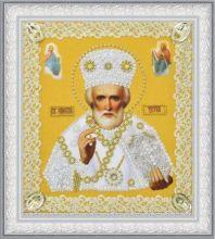 P-369 Картины Бисером. Икона Святителя Чудотворца (золото) ажур