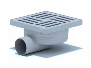 Трап горизонтальный нерегулируемый с выпуском 50мм, с пластиковой решеткой 150*150