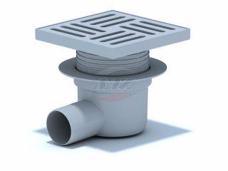 Трап горизонтальный регулируемый с выпуском 50мм, с пластиковой решеткой 150*150