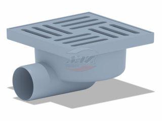 Трап горизонтальный нерегулируемый с выпуском 50мм, с пластиковой решеткой 150*150 сухой