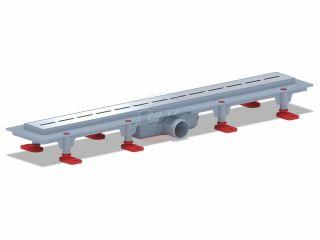 """Трап пластиковый линейный с гидрозатвором, диаметр выпуска 40 мм, решетка нержавеющая сталь, рисунок решетки """"КИЛЬ"""", длина 650 мм, глянец"""