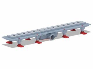 """Трап пластиковый линейный с гидрозатвором, диаметр выпуска 40 мм, решетка нержавеющая сталь, рисунок решетки """"КИЛЬ"""", длина 650 мм, матовая"""