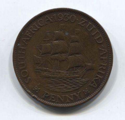 1 пенни 1930 года Южная Африка XF-, редкий год