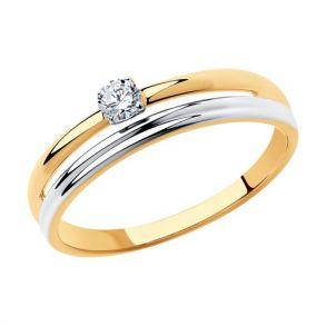 Кольцо из золота с фианитом 018314 SOKOLOV