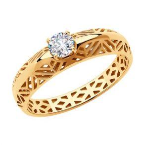 Кольцо из золота с фианитом 018378 SOKOLOV