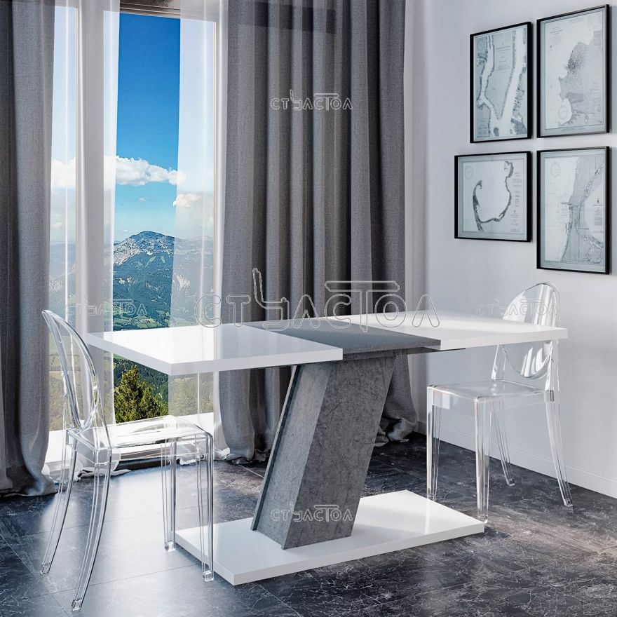 KROSS глянцевый кухонный стол на одной наклонной ножке Програматика