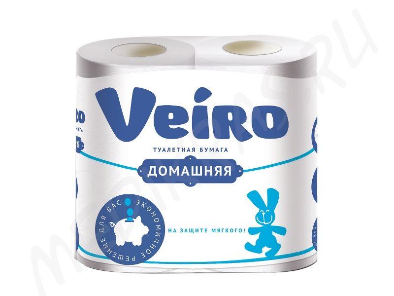 """Туалетная бумага """"Veiro"""" Домашняя 2-х слойная белая 4 рулона"""