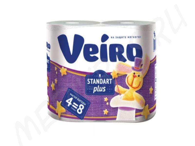 """Туалетная бумага """"Veiro"""" Standert Plus 2-х слойная белая 4 рулона"""