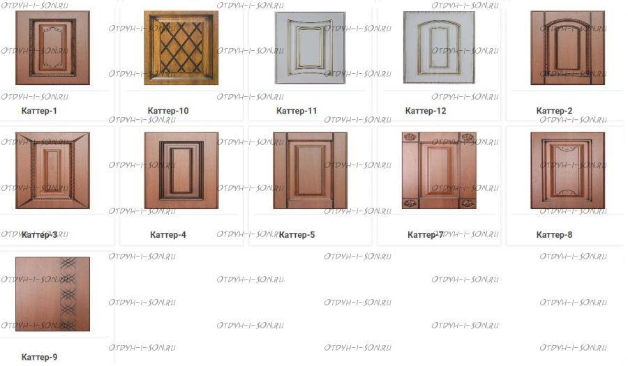 Виды фрезеровки фасадов Авелина, Каттер (Эпатаж, Патиния, Ферсия)
