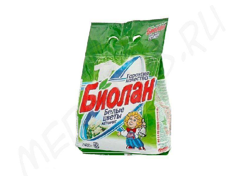 """Стиральный порошок """"Биолан"""" автомат Белые цветы 2,4 кг"""