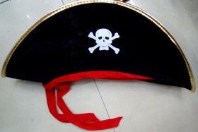 """Шляпа карнавальная """"Пират"""" с красной лентой"""