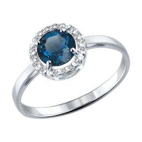 Кольцо из серебра с топазом и фианитами 92011017 SOKOLOV