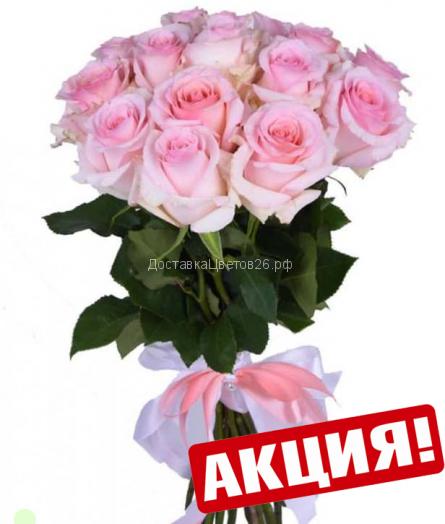 Нежно-розовые розы.  От 15 роз в букете.