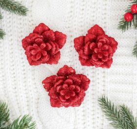"""Украшение ёлочное """"Бутон розы"""" (набор 3 шт) 7,5*7,5 см красный микс"""